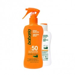 BABARIA SPRAY PROTECTOR SOLAR ALOE VERA SPF50 200ML + AFTER SUN ALOE 100ML