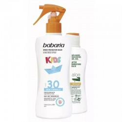 BABARIA KIDS SPRAY PROTECTOR SOLAR INFANTIL SPF 30 200 ML + AFTER SUN ALOE 100 ML SET REGALO
