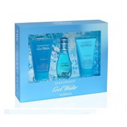 comprar perfume DAVIDOFF COOL WATER WOMAN EDT 30 ML + S/G 50 ML + B/L 50 ML SET REGALO danaperfumerias.com