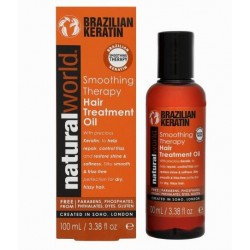 NATURAL WORLD BRAZILIAN KERATIN OIL SMOOTHING THERAPY HAIR TREATMENT OIL 100 ML