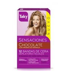 TAKY SENSACIONES BANDAS FACIALES CHOCOLATE 12 + 8 UNIDADES