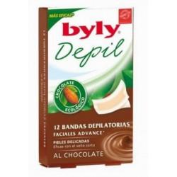 BYLY BANDAS DEPILATORIAS FACIALES CON CHOCOLATE 12 UNIDADES