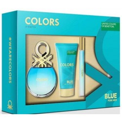 comprar perfumes online BENETTON COLORS BLUE EDT 50 ML + BODY MILK 75 ML + MINI EDT 15 ML SET REGALO mujer