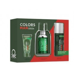 comprar perfume BENETTON COLORS GREEN MEN EDT 100ML VAPORIZADOR+DEO150ML+GEL 75ML SET REGALO danaperfumerias.com