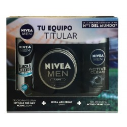 NIVEA MEN PACK CREME 150ML +GEL ACTIVE CLEAN 250 ML + DEO 200 ML SET REGALO