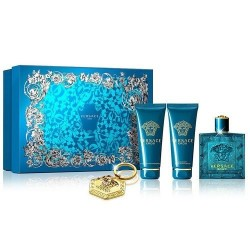 VERSACE EROS EDT 100 ML+ S/GEL 100 ML + A/S BALM 100 ML + LLAVERO SET REGALO