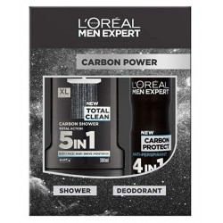 Comprar productos de hombre L'OREAL MEN EXPERT GEL 300 ML+ DESODORANTE 150 ML CARBON POWER danaperfumerias.com
