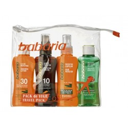 BABARIA SOLAR CREMA FACIAL SPF30 75ML+ACEITE PROTECTOR SPF20 100ML+PROTECTOR CAPILAR 100ML + AFTER SUN 100ML SET VIAJE danape...