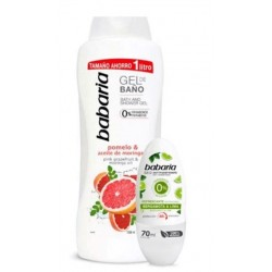 BABARIA GEL BAÑO POMELO 1000ML+DESODORANTE ROLL-ON BERGAMOTA & LIMA 70ML