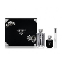 PRADA L´HOMME EDT 100 ML + GEL BAÑO 100ML +MINI 10 ML SET REGALO